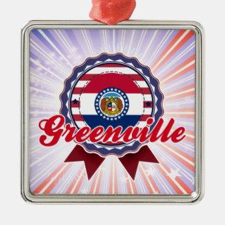 Greenville, MO Square Metal Christmas Ornament