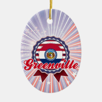 Greenville, MO Double-Sided Oval Ceramic Christmas Ornament