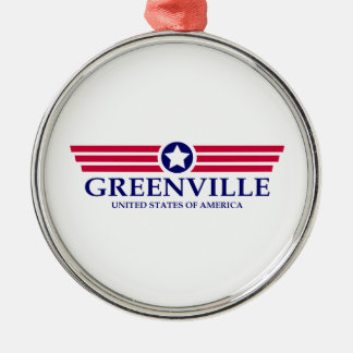 Greenville MS Pride Round Metal Christmas Ornament