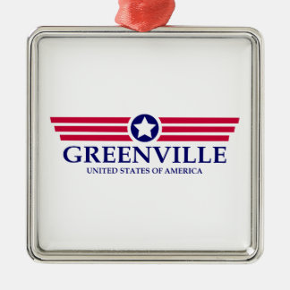 Greenville MS Pride Square Metal Christmas Ornament