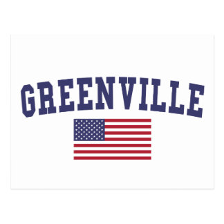 Greenville MS US Flag Postcard