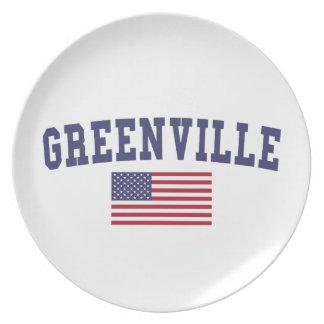 Greenville NC US Flag Melamine Plate