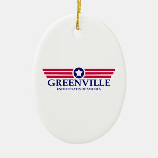 Greenville SC Pride Double-Sided Oval Ceramic Christmas Ornament