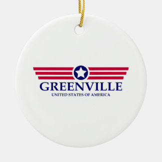 Greenville SC Pride Double-Sided Ceramic Round Christmas Ornament