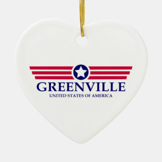 Greenville SC Pride Double-Sided Heart Ceramic Christmas Ornament