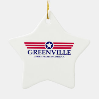 Greenville SC Pride Double-Sided Star Ceramic Christmas Ornament