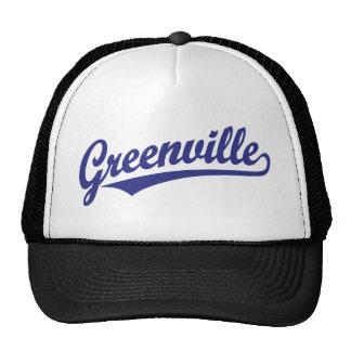 Greenville script logo in blue hat