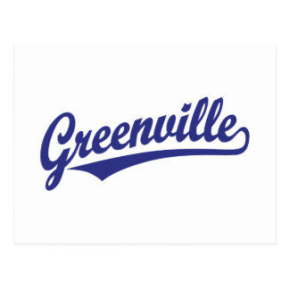 Greenville script logo in blue postcard