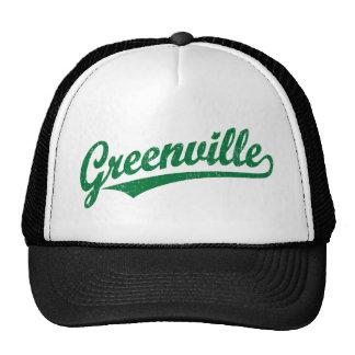 Greenville script logo in green distressed mesh hats