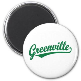 Greenville script logo in green magnet