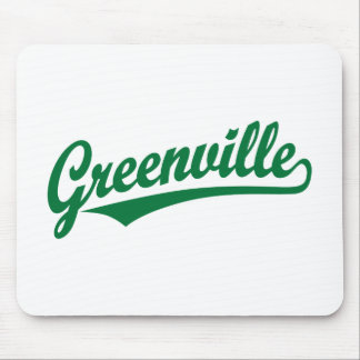 Greenville script logo in green mouse pad