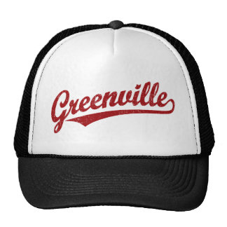 Greenville script logo in red distressed hats