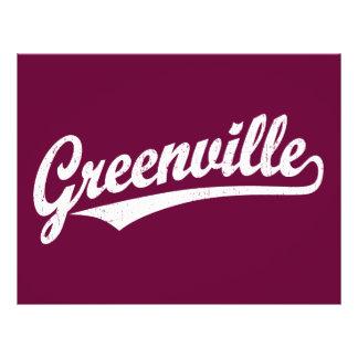 Greenville script logo in white distressed flyer