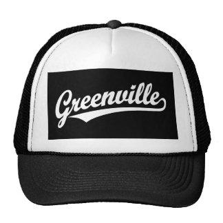 Greenville script logo in white trucker hat
