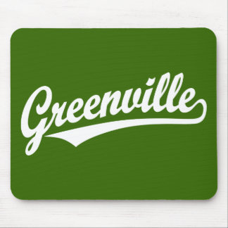 Greenville script logo in white mouse pad