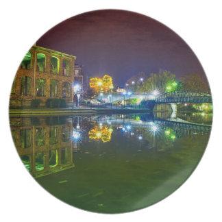 greenville south carolina downtown city night sout melamine plate