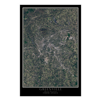 Greenville South Carolina From Space Satellite Map Poster