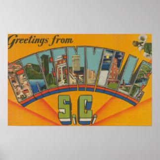 Greenville South Carolina - Large Letter Scenes Print