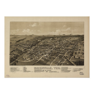 Greenville Texas 1886 Antique Panoramic Map Posters