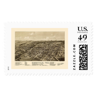 Greenville, TX Panoramic Map - 1886 Postage Stamps