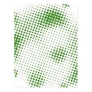 GREENWHITE GREEN WHITE GRUNGE RANDOM POLKADOTS POL POSTCARD
