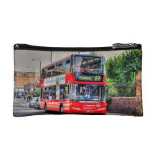 Greenwich to Peckham Red Double-decker Bus UK Cosmetic Bag