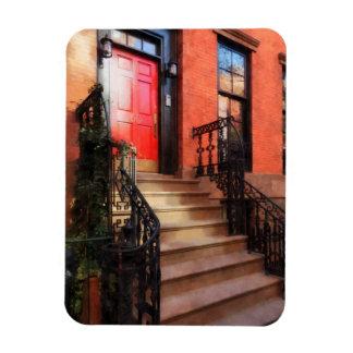 Greenwich Village Brownstone with Red Door Magnet