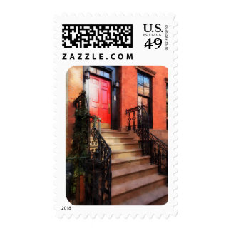 Greenwich Village Brownstone with Red Door Postage
