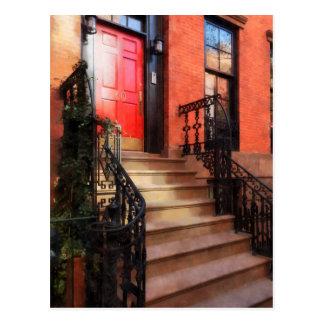 Greenwich Village Brownstone with Red Door Postcard