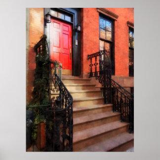Greenwich Village Brownstone with Red Door Print