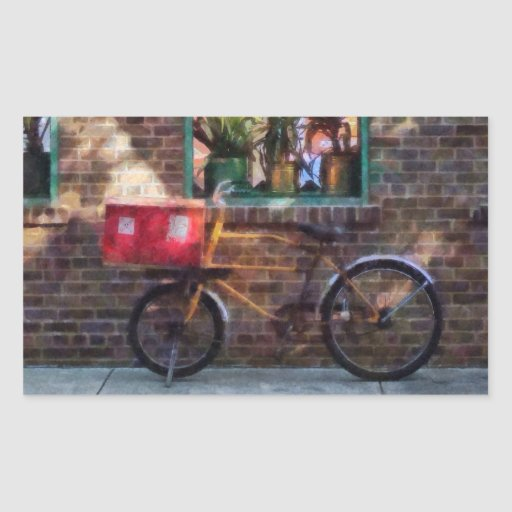 Greenwich Village de la bicicleta de la entrega Pegatina Rectangular