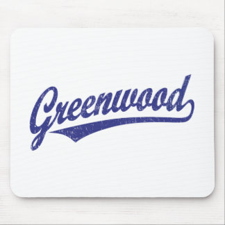 Greenwood script logo in blue distressed mouse pad