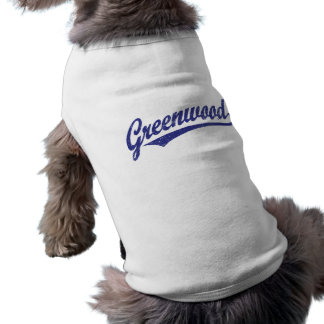 Greenwood script logo in blue distressed shirt