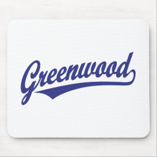 Greenwood script logo in blue mouse pad