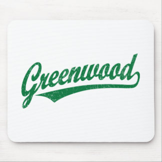 Greenwood script logo in green distressed mouse pad