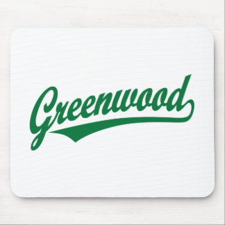 Greenwood script logo in green mouse pad
