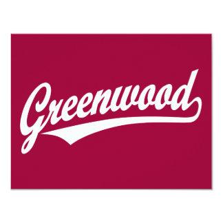 Greenwood script logo in white card