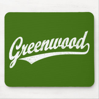 Greenwood script logo in white distressed mouse pad