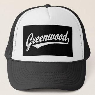 Greenwood script logo in white distressed trucker hat