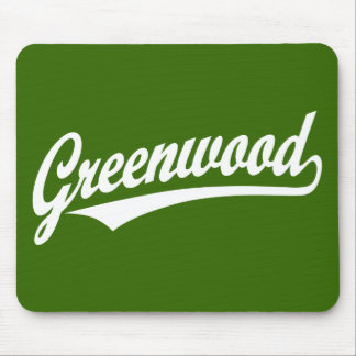 Greenwood script logo in white mouse pad