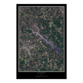 Greenwood South Carolina From Space Satellite Map Poster