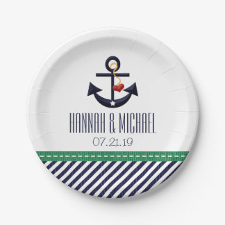 Greeny and Navy Blue Nautical Anchor Wedding Paper Plate