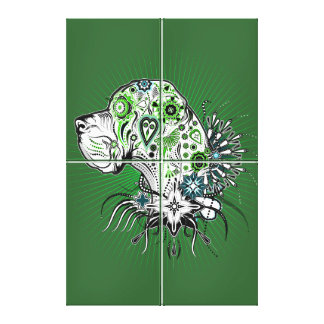 Greeny Great Dane Canvas Print