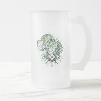 Greeny Great Dane Frosted Glass Beer Mug