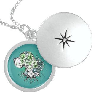 Greeny Great Dane Round Locket Necklace