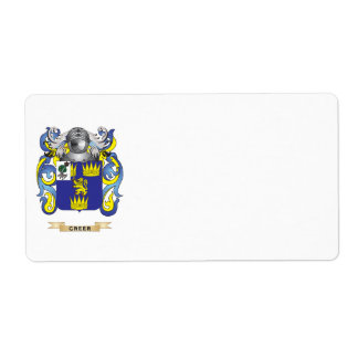 Greer Coat of Arms (Family Crest) Custom Shipping Labels