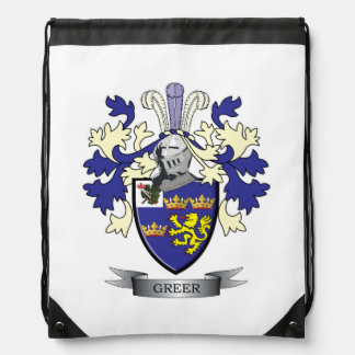 Greer Family Crest Coat of Arms Drawstring Bag