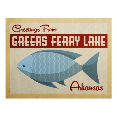 Greers Ferry Lake Fish Vintage Travel Postcard