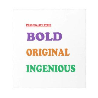 Greet Gift Friends: BOLD ORIGINAL INGENIOUS Humans Memo Note Pad