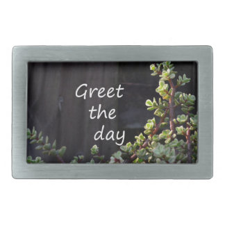 greet the day with baby jade rectangular belt buckle